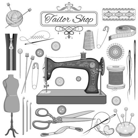 maquina de coser: Ilustraci�n del conjunto de costura y sastre objeto de la vendimia Vectores
