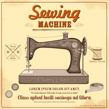 garment label: illustration of vintage sewing machine
