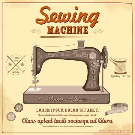 kit de costura: ilustración de la máquina de coser de la vendimia