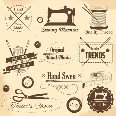 kit de costura: ilustración de la etiqueta de costura y adaptar el estilo vintage Vectores