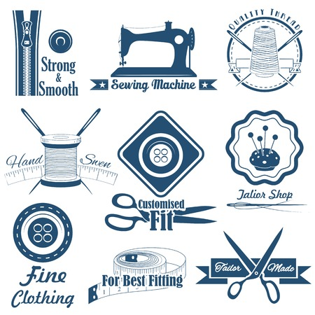 tailored: illustration of vintage style sewing and tailor label Illustration