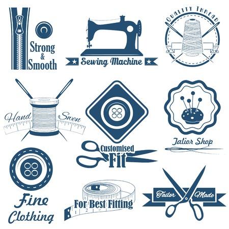 coser: ilustración de la etiqueta de costura y adaptar el estilo vintage Vectores