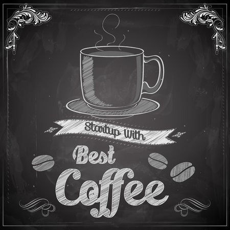 tasse caf�: illustration de caf� chaud sur tableau noir