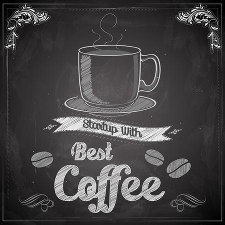 copas: ilustraci�n de caf� caliente en la pizarra