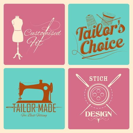 tailored: illustration of vintage style label for tailor emblem