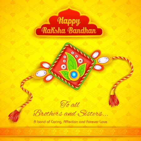 auspicious: illustration of decorative rakhi for Raksha Bandhan background