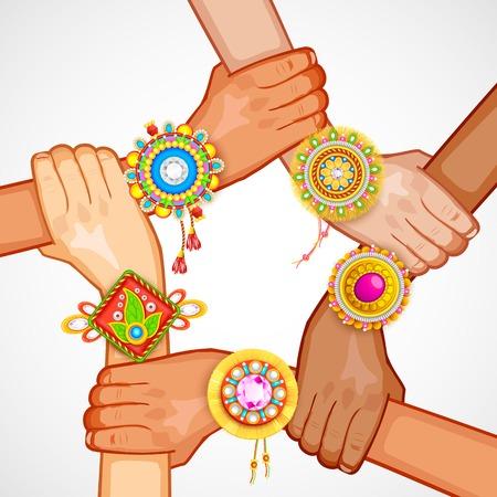 raksha: illustration of colorful rakhi tied on hand in Raksha Bandhan