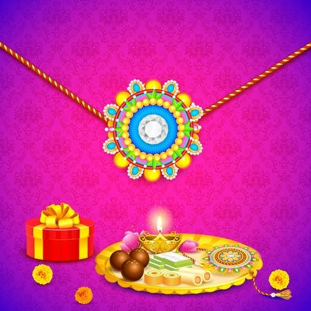 raksha: illustrazione di thali decorato con Rakhi per Raksha Bandhan