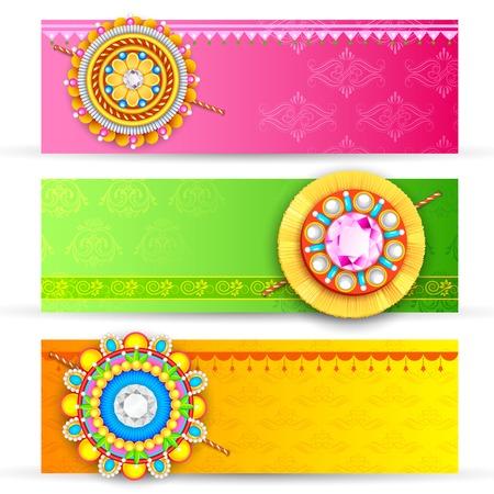 raksha: illustration of decorative rakhi for Raksha Bandhan banner Illustration