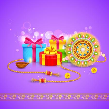 illustration of Raksha Bandhan background with rakhi and gift Vector