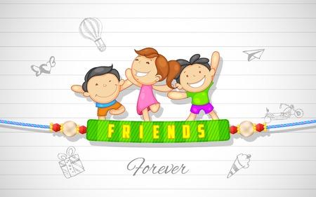 幸せな友情日を楽しんでいる友人のイラスト  イラスト・ベクター素材