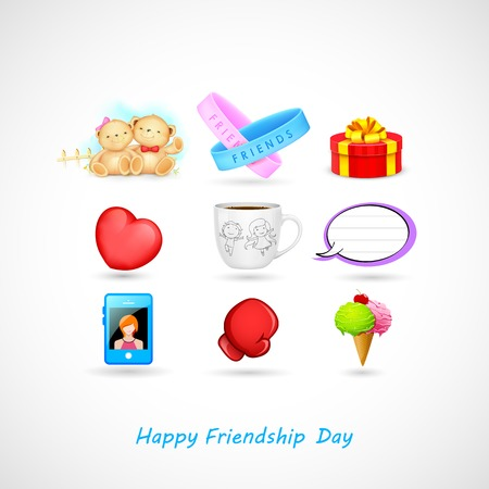 illustration of Happy Friendship Day background with gifts Vector