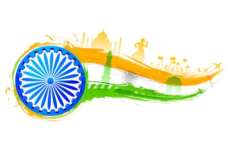 independence day: illustration of tricolor India background with monument