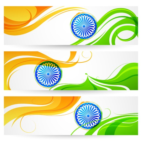 illustration of tricolor India banner with Indian flag Illustration