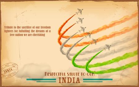 agosto: illustrazione di aeroplano rendere bandiera indiana tricolore in cielo Vettoriali