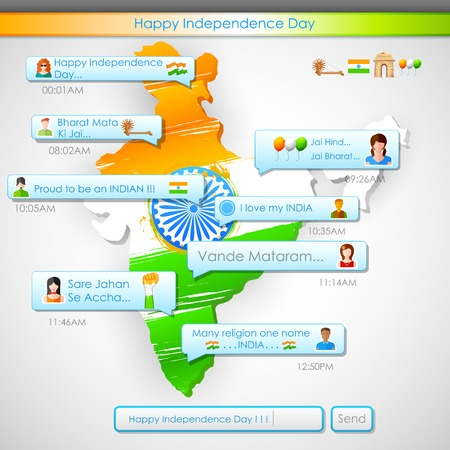 illustration of Happy Independence Day message in social media application Vector
