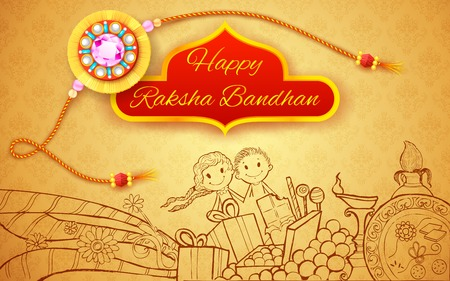 rakshabandhan: illustration of rakhi on Raksha Bandhan doodle