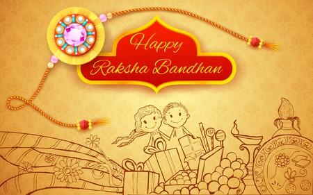 raksha: illustrazione di Rakhi il Raksha Doodle Bandhan