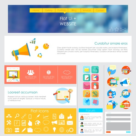 illustration of flat style User Interface Design