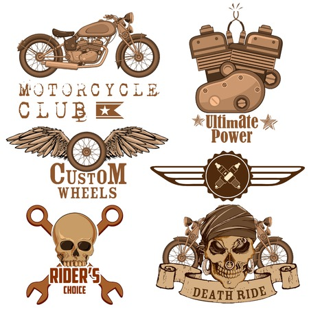 motor mechanic: illustration of vintage motorcycle design element with skull