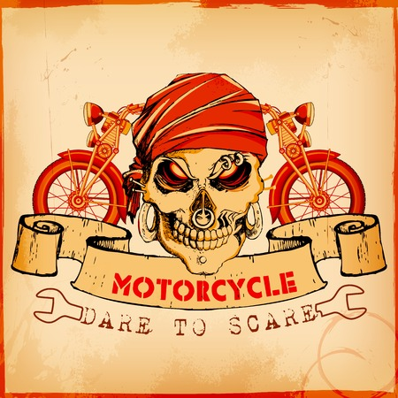 illustration of skull on vintage motorcycle background