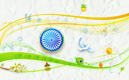 republic day: illustration of background for India s freedom on crushed paper Illustration