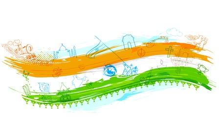 independence day: illustration of Indian background with monument Illustration