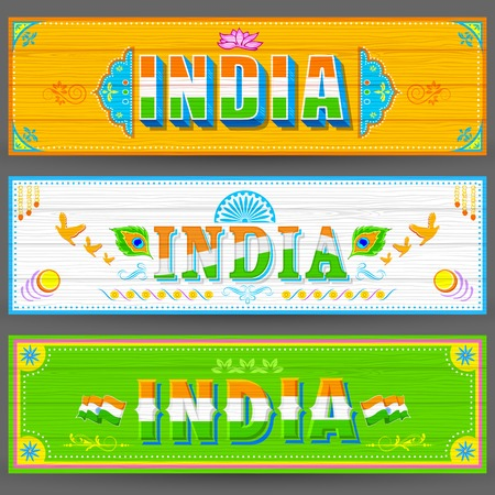 vintage truck: illustration of India banner in truck paint style