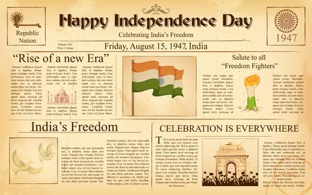 幸せな独立記念日のインドのビンテージ新聞のイラスト