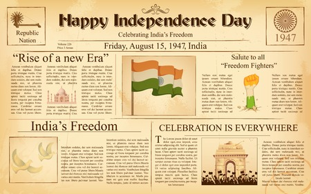 newspaper headline: illustration of vintage newspaper for Happy Independence Day of India