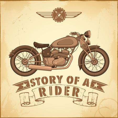 speed ride: illustration of vintage motorcycle on retro background