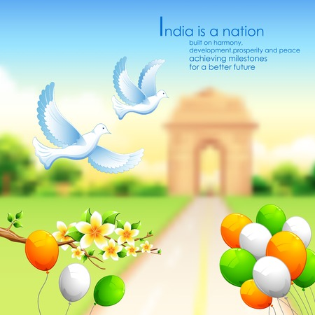 india gate: illustration of India background with tricolor balloon and India Gate