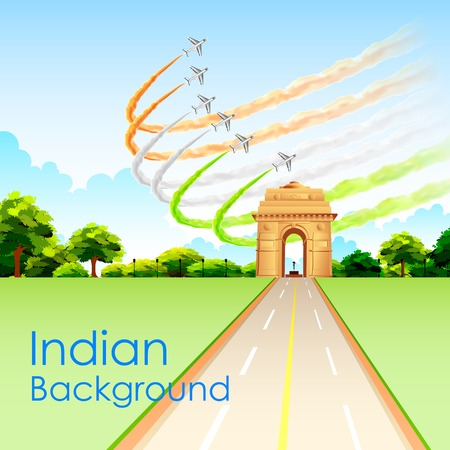india gate: illustration of airplane making Indian tricolor flag around India Gate Illustration