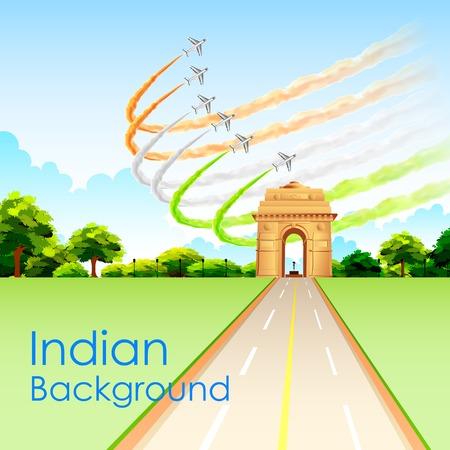 india gate: illustration of airplane making Indian tricolor flag around India Gate Illustration