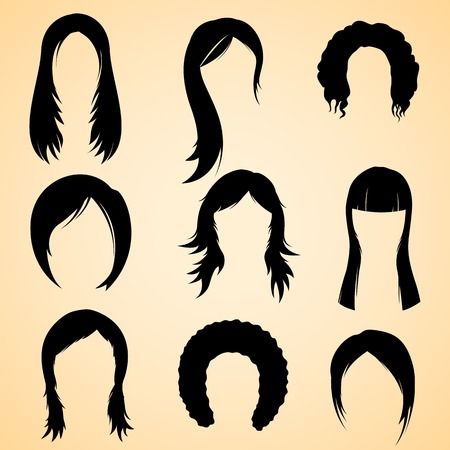 long straight hair: illustration of collection of hair style for female