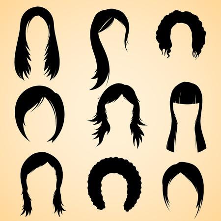 long hair woman: Ilustraci�n de la colecci�n de estilo de pelo para las mujeres