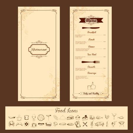 Illustration der Vorlage für die Menü-Karte mit Besteck auf floral background