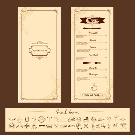 gourmet: illustration of template for menu card with cutlery on floral background