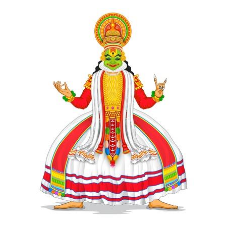 dancer: illustration of Kathakali dancer in colorful costume