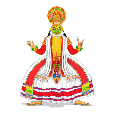 illustration of Kathakali dancer in colorful costume