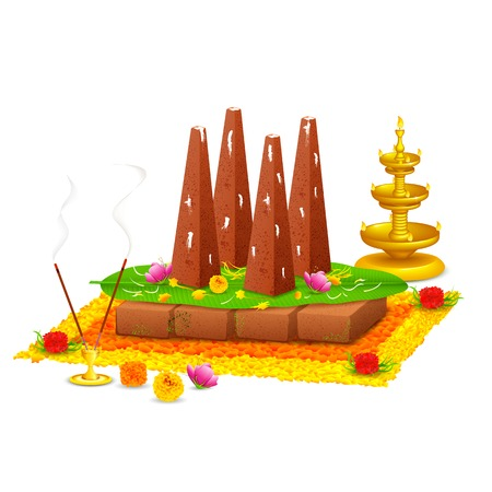 illustration of decorated onathappan for Onam celebration