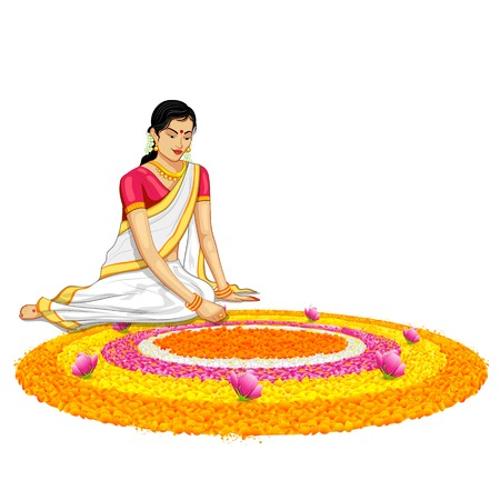 onam: illustration of woman making rangoli for onam Illustration