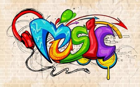 illustration of music background graffiti style Vector