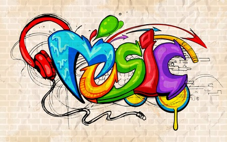 ilustracji muzycznej tle stylu graffiti?