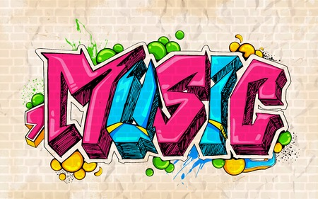 graffiti art: illustration of music background graffiti style