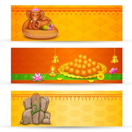 ganesh: illustration of banner for Ganesh Chaturthi with text Ganpati Bappa Morya  Oh Ganpati My Lord