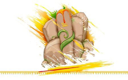 ganpati: illustration of statue of Lord Ganesha made of rock for Ganesh Chaturthi