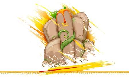 lord ganesha: ilustraci�n de la estatua de Ganesha hecho de roca para Ganesh Chaturthi