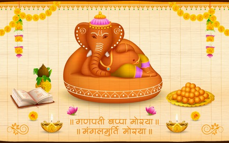 idol: illustration of statue of Lord Ganesha made of clay Ganesh Chaturthi with text Ganpati Bappa Morya  Oh Ganpati My Lord  Illustration