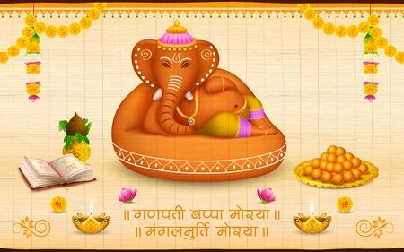 ilustración de la estatua de Ganesha hecho de arcilla Ganesh Chaturthi con el texto Ganpati Bappa Morya Oh Mi Señor Ganpati